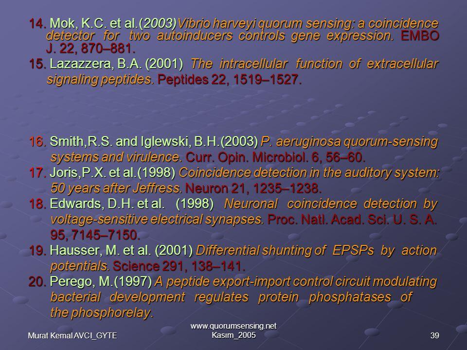 39Murat Kemal AVCI_GYTE www.quorumsensing.net Kasım_2005 14.