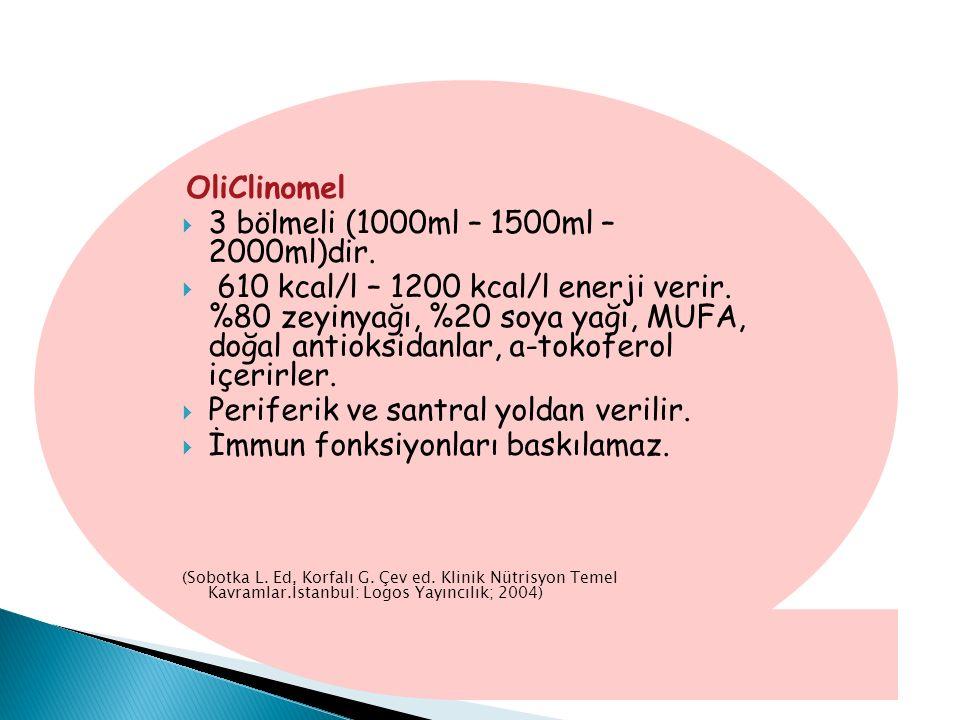 OliClinomel  3 bölmeli (1000ml – 1500ml – 2000ml)dir.  610 kcal/l – 1200 kcal/l enerji verir. %80 zeyinyağı, %20 soya yağı, MUFA, doğal antioksidanl