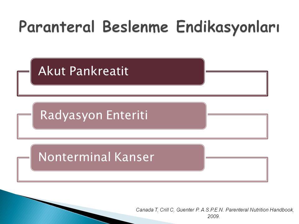 Akut PankreatitRadyasyon EnteritiNonterminal Kanser Canada T, Crill C, Guenter P. A.S.P.E.N. Parenteral Nutrition Handbook, 2009.