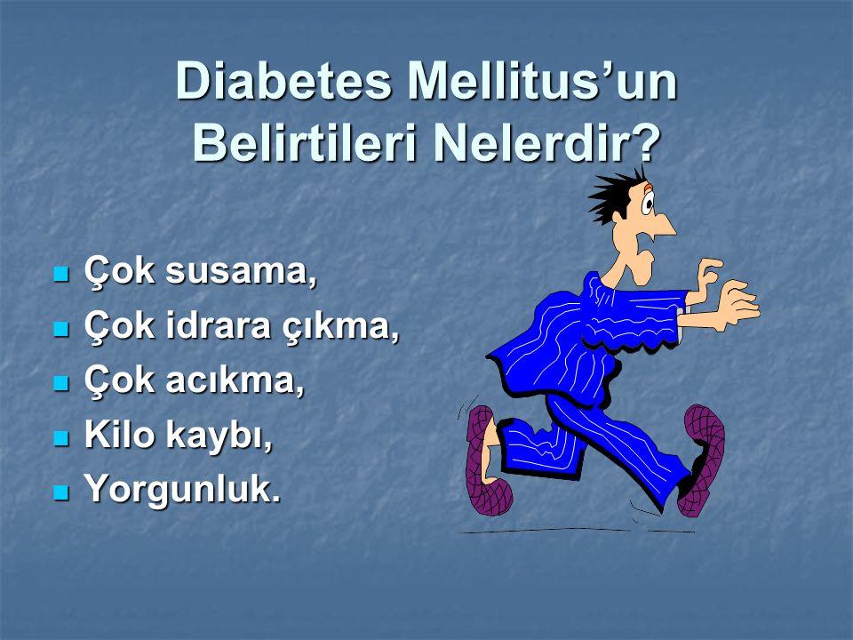 Diabetes Mellitus'un Belirtileri Nelerdir? Çok susama, Çok susama, Çok idrara çıkma, Çok idrara çıkma, Çok acıkma, Çok acıkma, Kilo kaybı, Kilo kaybı,