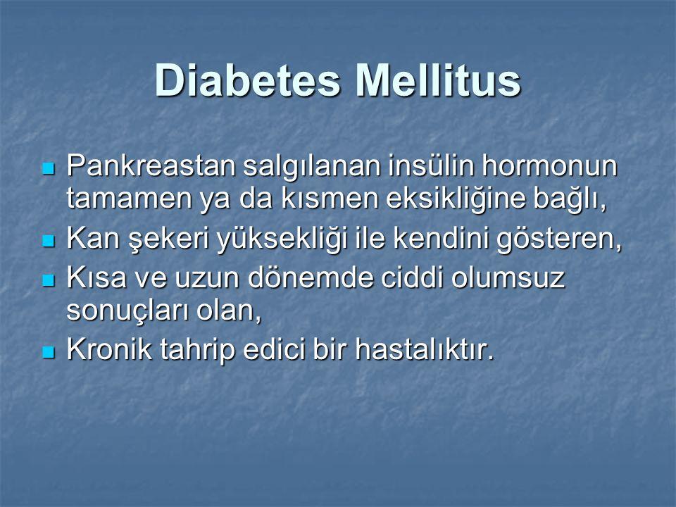 Diabetes Mellitus Pankreastan salgılanan insülin hormonun tamamen ya da kısmen eksikliğine bağlı, Pankreastan salgılanan insülin hormonun tamamen ya d