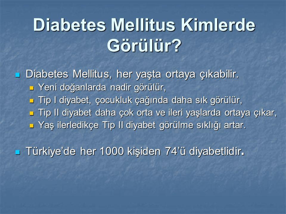 Diabetes Mellitus Kimlerde Görülür? Diabetes Mellitus, her yaşta ortaya çıkabilir. Diabetes Mellitus, her yaşta ortaya çıkabilir. Yeni doğanlarda nadi