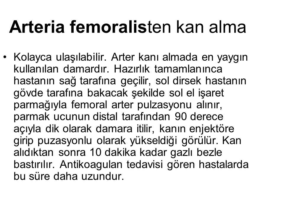 Arteria femoralisten kan alma Kolayca ulaşılabilir.