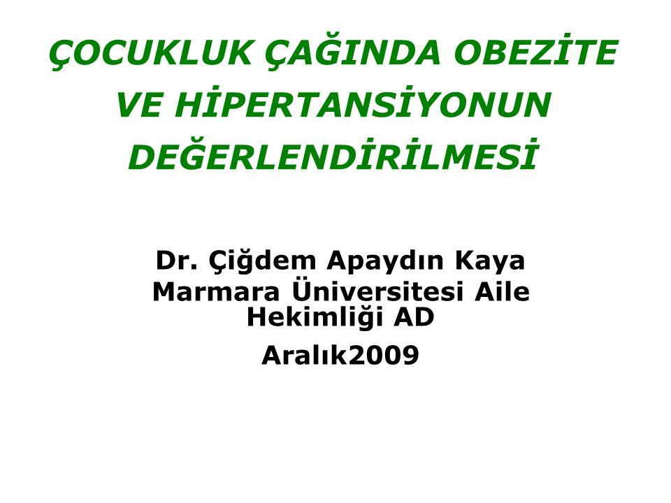 Dr. Çiğdem Apaydın Kaya Marmara Üniversitesi Aile Hekimliği AD Aralık2009 ÇOCUKLUK ÇAĞINDA OBEZİTE VE HİPERTANSİYONUN DEĞERLENDİRİLMESİ