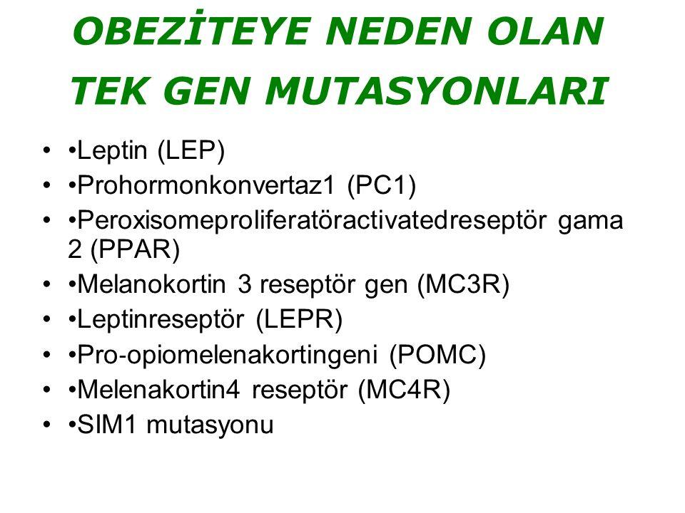 OBEZİTEYE NEDEN OLAN TEK GEN MUTASYONLARI Leptin (LEP) Prohormonkonvertaz1 (PC1) Peroxisomeproliferatöractivatedreseptör gama 2 (PPAR) Melanokortin 3 reseptör gen (MC3R) Leptinreseptör (LEPR) Pro ‐ opiomelenakortingeni (POMC) Melenakortin4 reseptör (MC4R) SIM1 mutasyonu