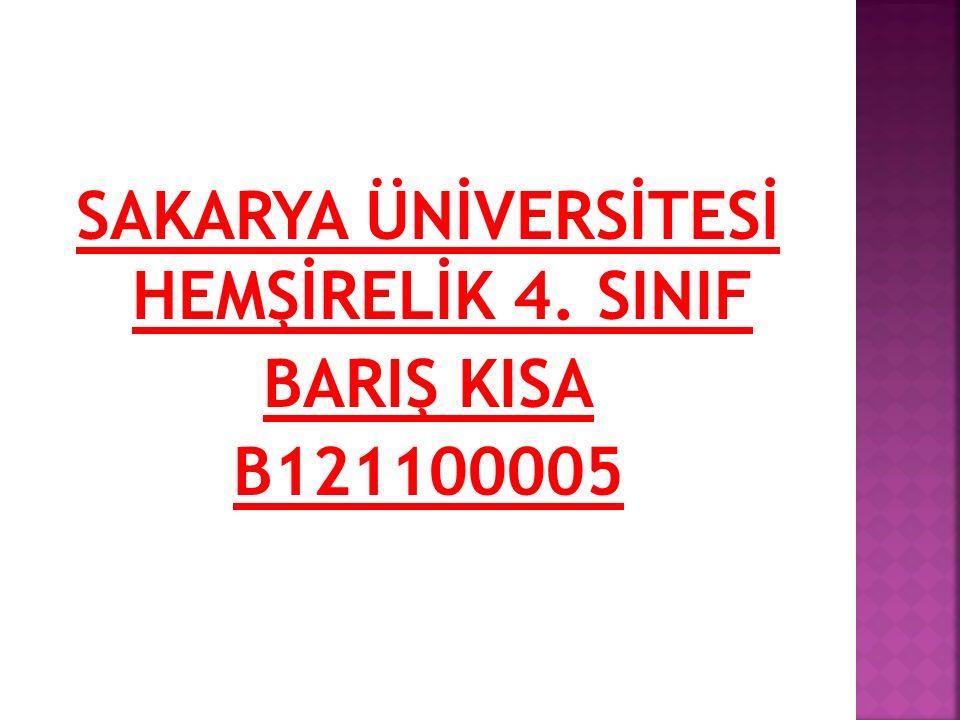SAKARYA ÜNİVERSİTESİ HEMŞİRELİK 4. SINIF BARIŞ KISA B121100005