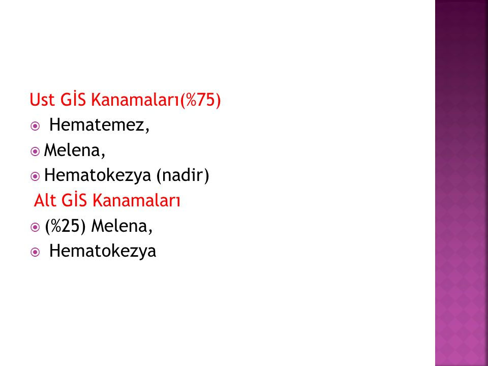 Ust GİS Kanamaları(%75)  Hematemez,  Melena,  Hematokezya (nadir) Alt GİS Kanamaları  (%25) Melena,  Hematokezya