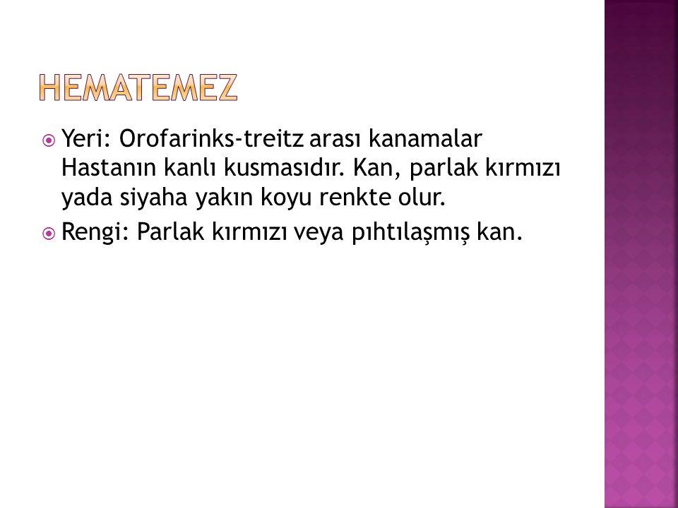  Yeri: Orofarinks-treitz arası kanamalar Hastanın kanlı kusmasıdır.