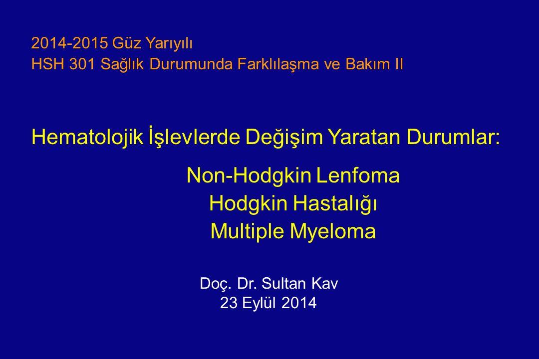 Hedefler Lenfomanın iki ana tipi arasındaki farkı açıklayabilme Multiple myelomun (MM) fizyopatolojisini açıklayabilme Lenfoma/MM etiyolojisinde rol oynayan faktörlerden üçünü sayabilme Lenfomanın/MM klinik belirti ve bulgularından üç tanesini söyleyebilme Lenfoma/MM tedavisinde kullanılan ana yöntemleri açıklayabilme