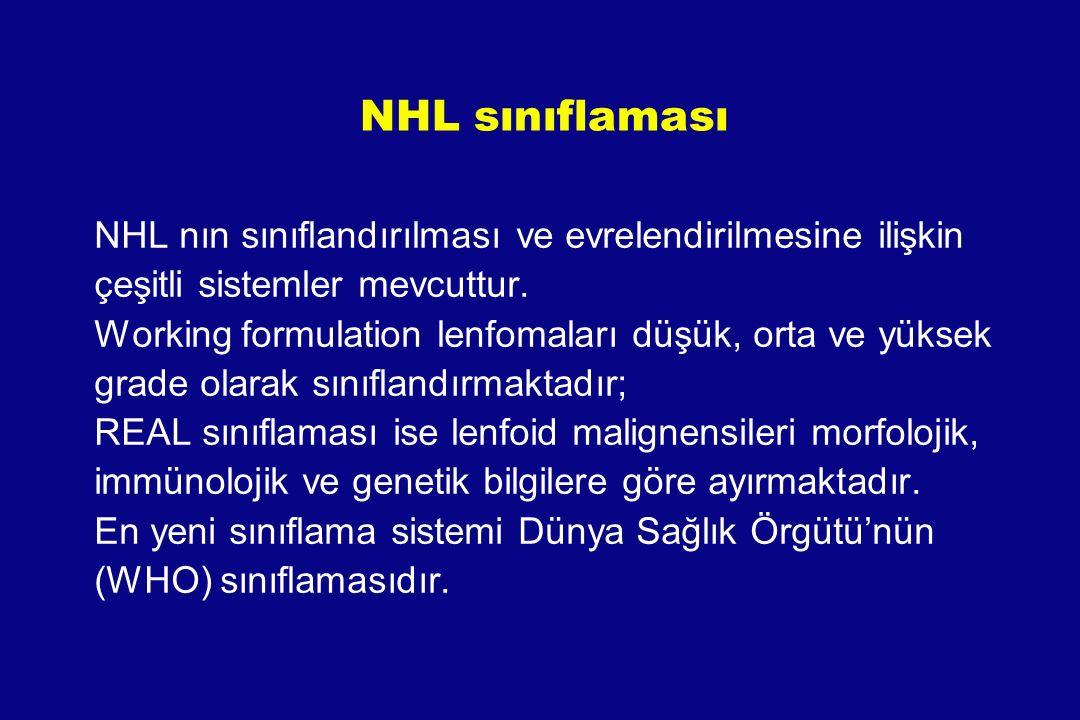 NHL nın sınıflandırılması ve evrelendirilmesine ilişkin çeşitli sistemler mevcuttur. Working formulation lenfomaları düşük, orta ve yüksek grade olara