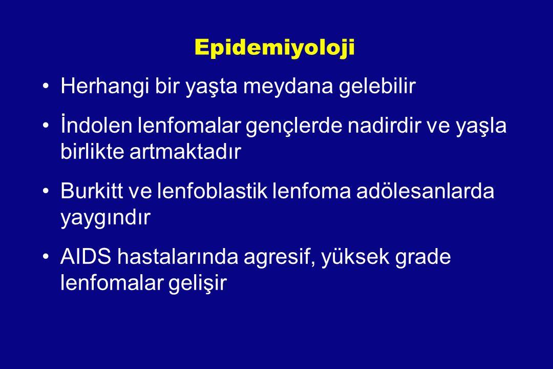 Epidemiyoloji Herhangi bir yaşta meydana gelebilir İndolen lenfomalar gençlerde nadirdir ve yaşla birlikte artmaktadır Burkitt ve lenfoblastik lenfoma