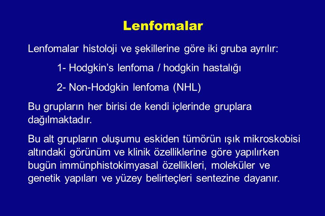 Lenfomalar Lenfomalar histoloji ve şekillerine göre iki gruba ayrılır: 1- Hodgkin's lenfoma / hodgkin hastalığı 2- Non-Hodgkin lenfoma (NHL) Bu grupla