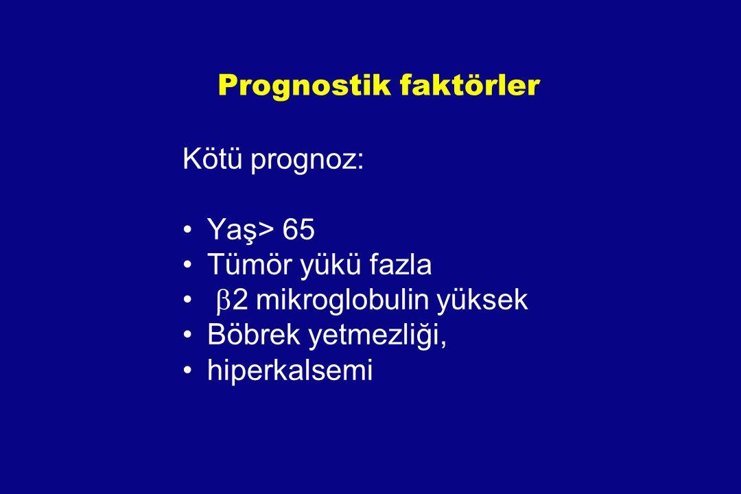 Prognostik faktörler Kötü prognoz: Yaş> 65 Tümör yükü fazla  2 mikroglobulin yüksek Böbrek yetmezliği, hiperkalsemi