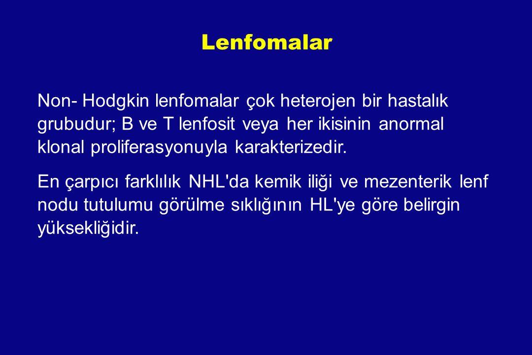 Lenfomalar Lenfomaların % 90'ı NHL NHL 2 ana gruba ayrılır: B-hücre, T-hücre NHL ların % 85-90' ı B hücre kaynaklıdır NHL ın birçok alt tipi vardır (32?) Lenfoma, bugüne kadar sınıflaması en sık değişen malignensidir -1966 yılında Rapaport, -1974 Lukes/Collins, -1982 Working Formulation, -1994 R.E.A.L ve 2001 WHO -son olarak 2008 WHO sınıflaması