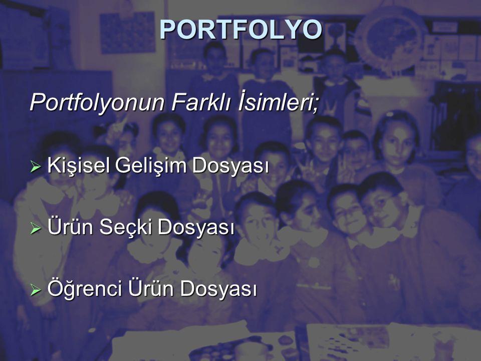 PORTFOLYO Portfolyonun Farklı İsimleri;  Kişisel Gelişim Dosyası  Ürün Seçki Dosyası  Öğrenci Ürün Dosyası