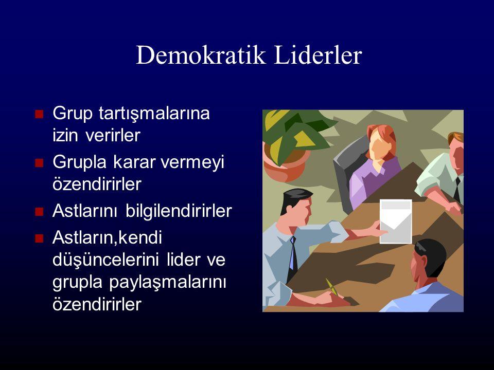 Otokratik lider Grubun amaçlarını, neyin nasıl yapılacağını,liderin kendisi belirler, astların liderlik özelliklerini geliştirme imkanları çok azdır.