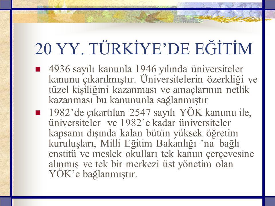 20 YY.TÜRKİYE'DE EĞİTİM 4936 sayılı kanunla 1946 yılında üniversiteler kanunu çıkarılmıştır.