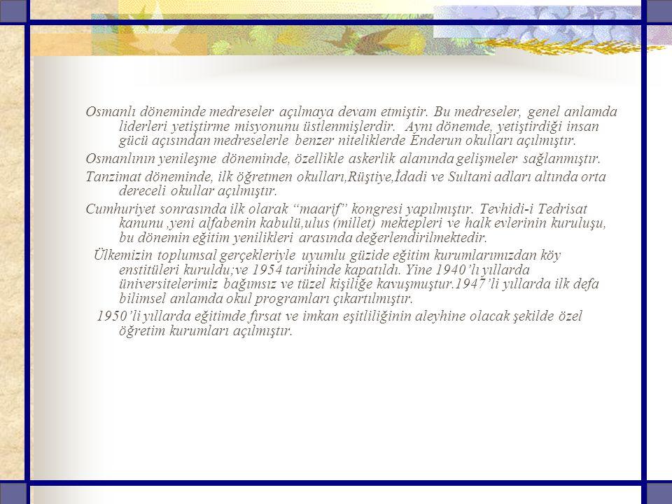 Osmanlı döneminde medreseler açılmaya devam etmiştir.