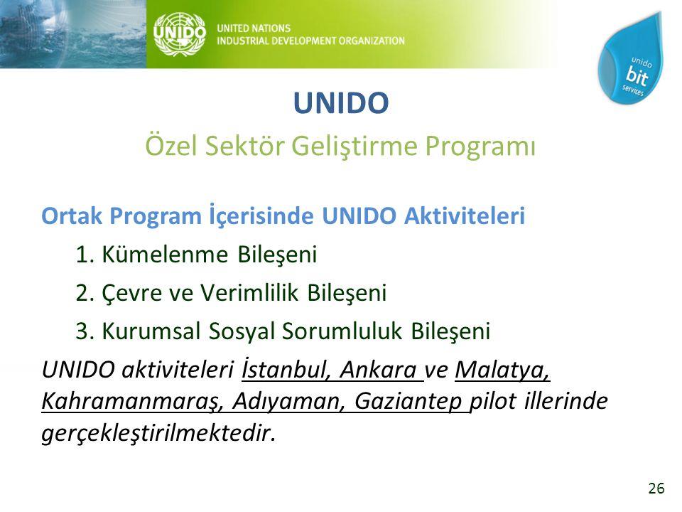 26 Ortak Program İçerisinde UNIDO Aktiviteleri 1. Kümelenme Bileşeni 2.