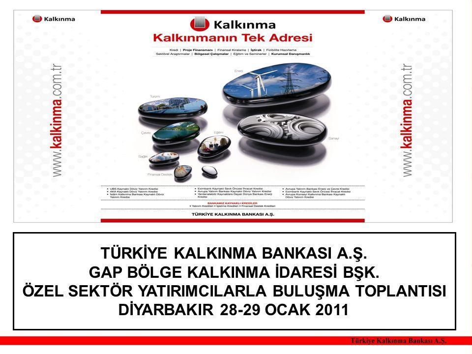 TÜRKİYE KALKINMA BANKASI A.Ş. GAP BÖLGE KALKINMA İDARESİ BŞK.
