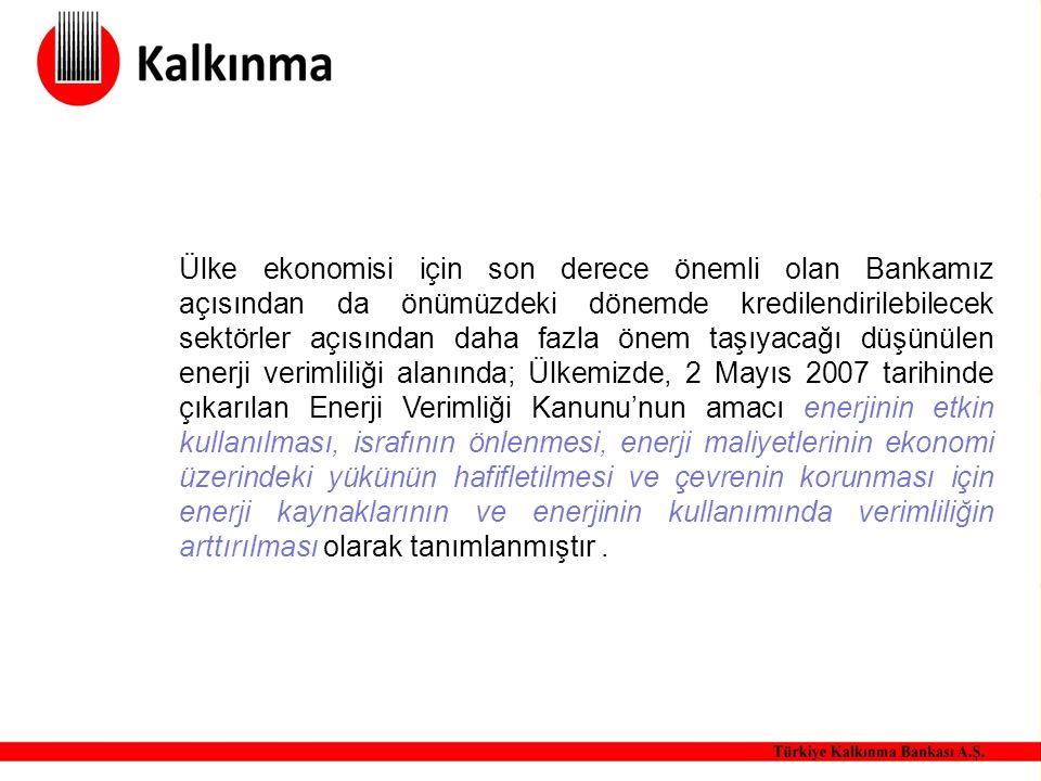 Ülke ekonomisi için son derece önemli olan Bankamız açısından da önümüzdeki dönemde kredilendirilebilecek sektörler açısından daha fazla önem taşıyacağı düşünülen enerji verimliliği alanında; Ülkemizde, 2 Mayıs 2007 tarihinde çıkarılan Enerji Verimliği Kanunu'nun amacı enerjinin etkin kullanılması, israfının önlenmesi, enerji maliyetlerinin ekonomi üzerindeki yükünün hafifletilmesi ve çevrenin korunması için enerji kaynaklarının ve enerjinin kullanımında verimliliğin arttırılması olarak tanımlanmıştır.