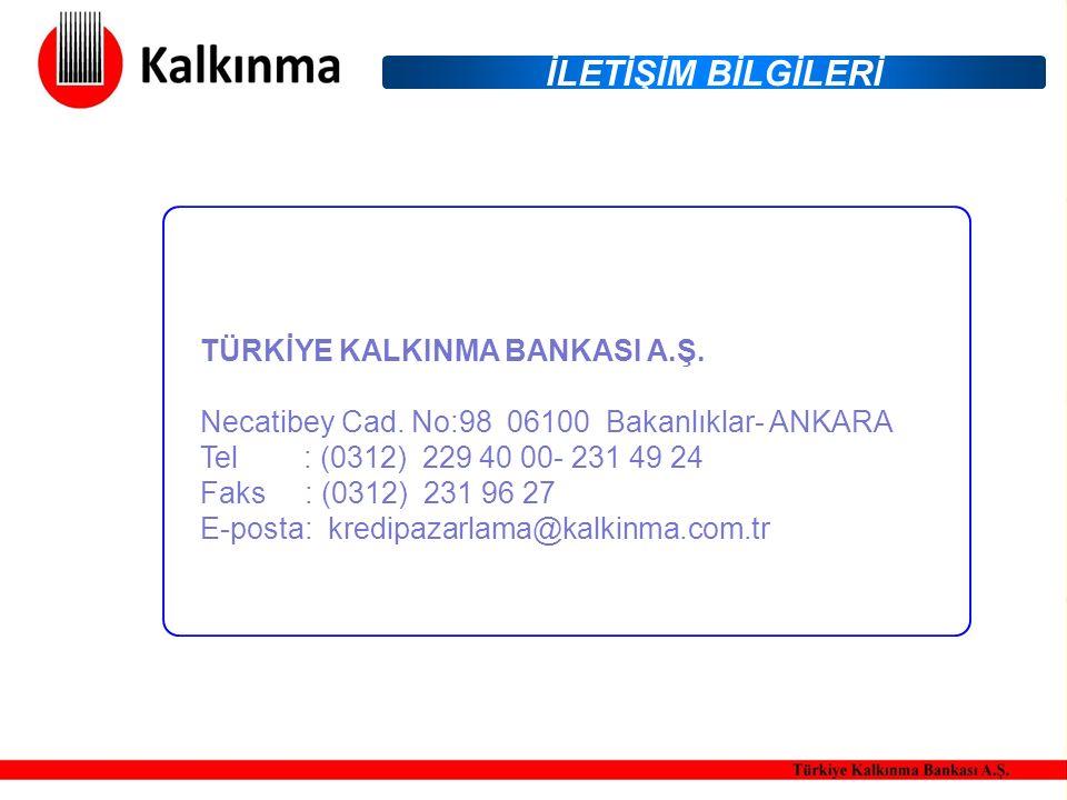 İLETİŞİM BİLGİLERİ TÜRKİYE KALKINMA BANKASI A.Ş. Necatibey Cad.