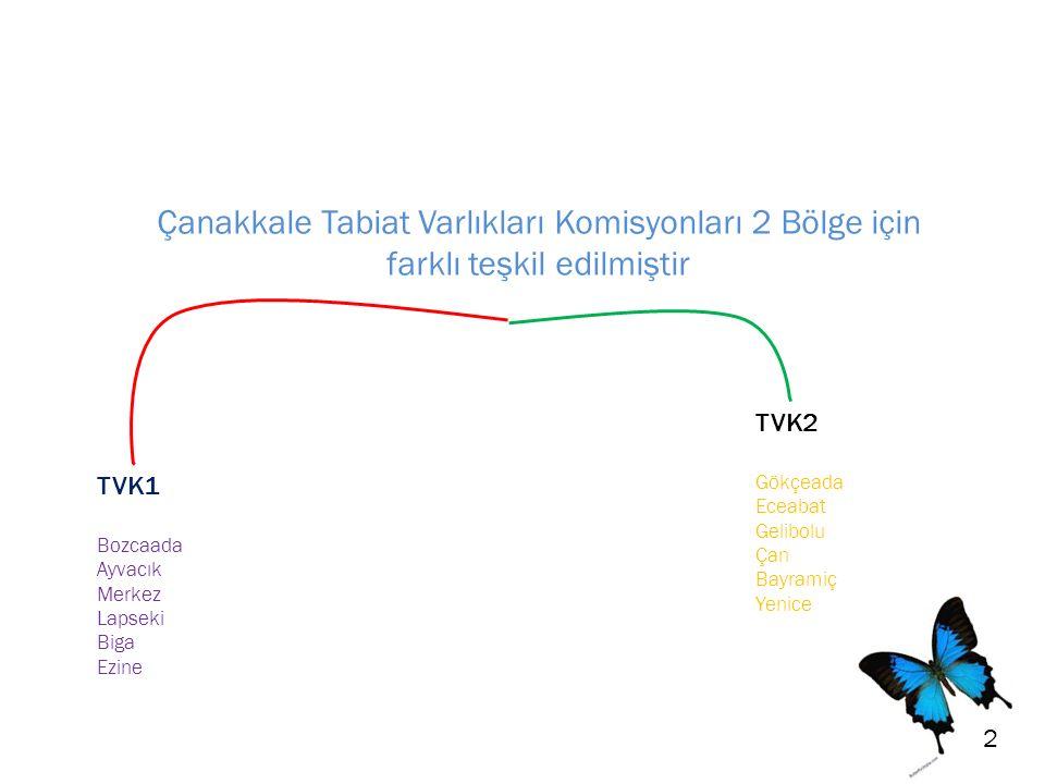 Çanakkale Tabiat Varlıkları Komisyonları 2 Bölge için farklı teşkil edilmiştir TVK1 Bozcaada Ayvacık Merkez Lapseki Biga Ezine TVK2 Gökçeada Eceabat Gelibolu Çan Bayramiç Yenice 2