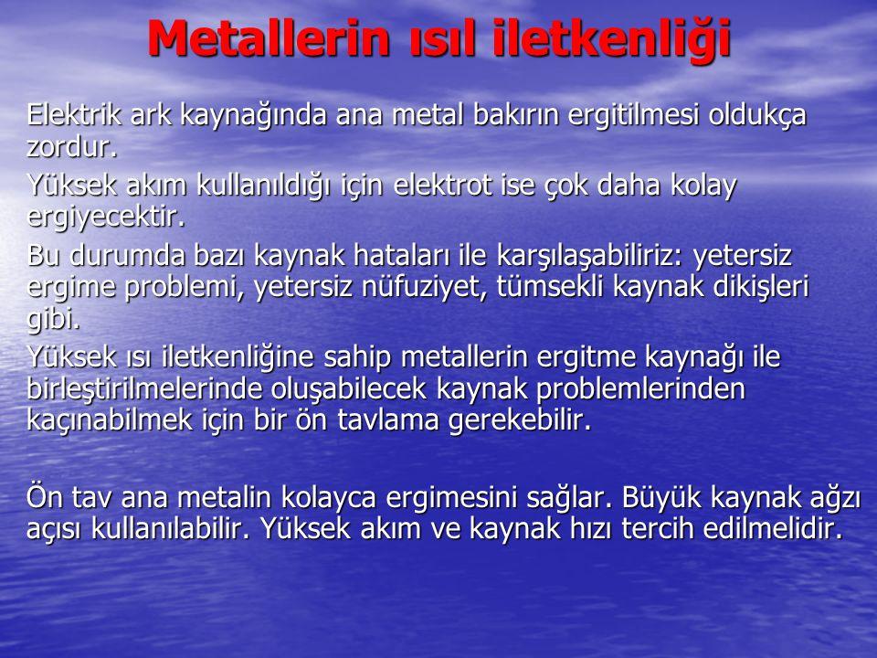 Metallerin ısıl iletkenliği Elektrik ark kaynağında ana metal bakırın ergitilmesi oldukça zordur. Yüksek akım kullanıldığı için elektrot ise çok daha