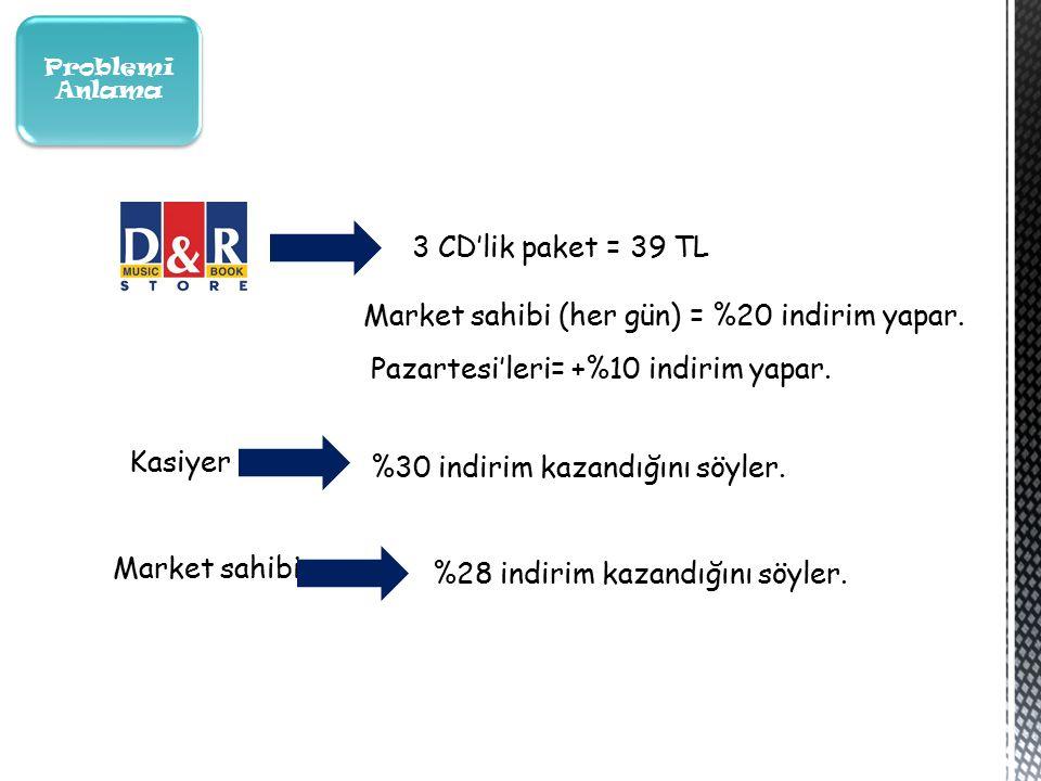 3 CD'lik paket = 39 TL Market sahibi (her gün) = %20 indirim yapar.