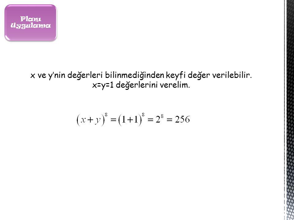 Planı Uygulama x ve y'nin değerleri bilinmediğinden keyfi değer verilebilir.