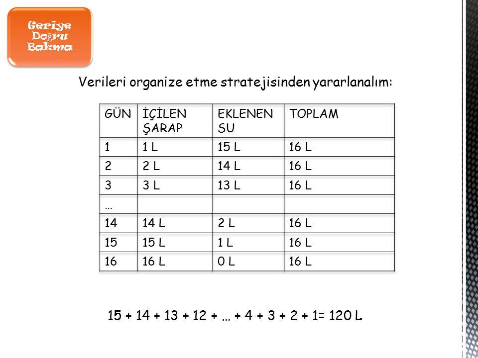 Geriye Do ğ ru Bakma Verileri organize etme stratejisinden yararlanalım: 15 + 14 + 13 + 12 + … + 4 + 3 + 2 + 1= 120 L