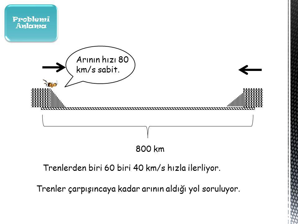 Problemi Anlama 800 km Trenlerden biri 60 biri 40 km/s hızla ilerliyor.