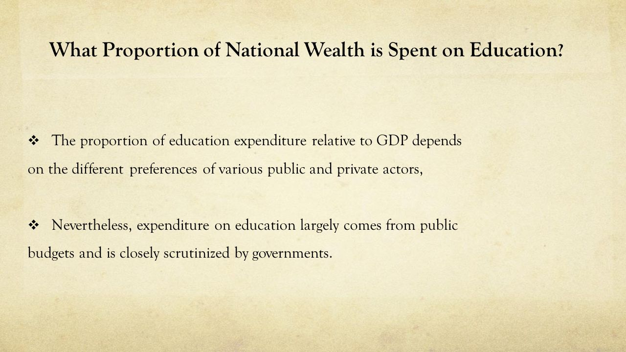 What Proportion of National Wealth is Spent on Education .