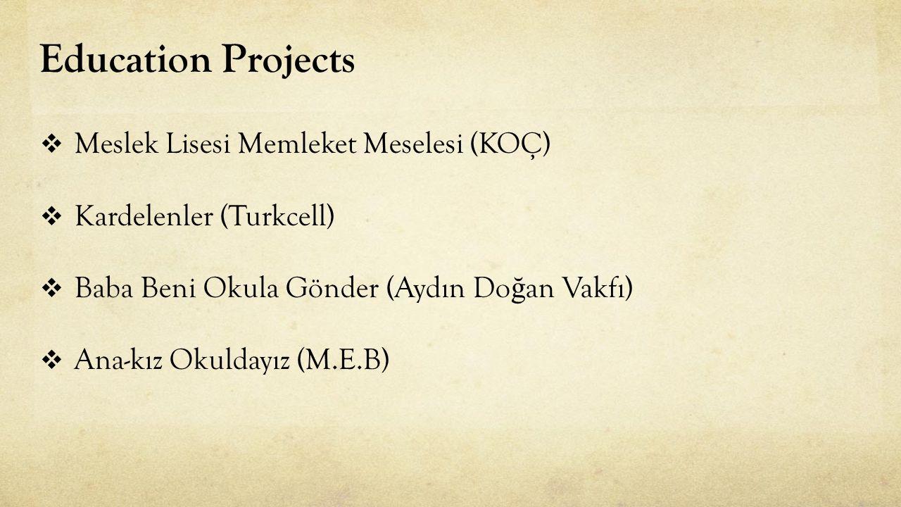 Education Projects  Meslek Lisesi Memleket Meselesi (KOÇ)  Kardelenler (Turkcell)  Baba Beni Okula Gönder (Aydın Do ğ an Vakfı)  Ana-kız Okuldayız (M.E.B)