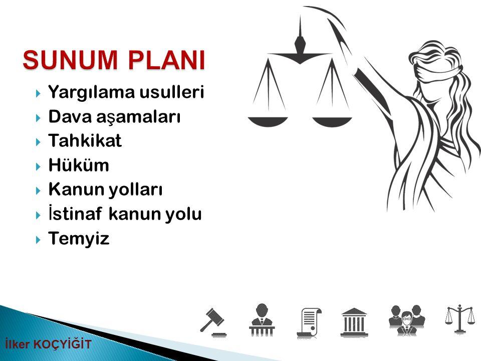  Yargılama usulleri  Dava a ş amaları  Tahkikat  Hüküm  Kanun yolları  İ stinaf kanun yolu  Temyiz İlker KOÇYİĞİT