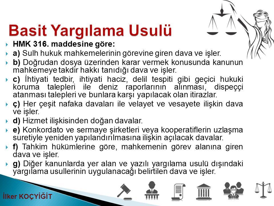  HMK 316. maddesine göre:  a) Sulh hukuk mahkemelerinin görevine giren dava ve işler.  b) Doğrudan dosya üzerinden karar vermek konusunda kanunun m