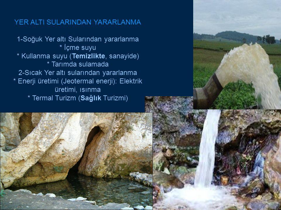 YER ALTI SULARINDAN YARARLANMA 1-Soğuk Yer altı Sularından yararlanma * İçme suyu * Kullanma suyu (Temizlikte, sanayide) * Tarımda sulamada 2-Sıcak Yer altı sularından yararlanma * Enerji üretimi (Jeotermal enerji): Elektrik üretimi, ısınma * Termal Turizm (Sağlık Turizmi)