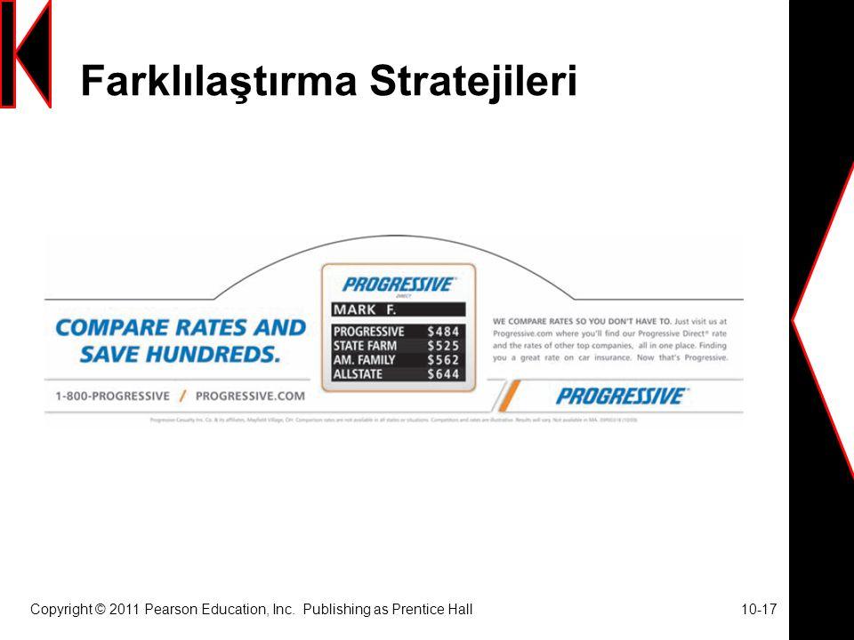 Farklılaştırma Stratejileri Copyright © 2011 Pearson Education, Inc.