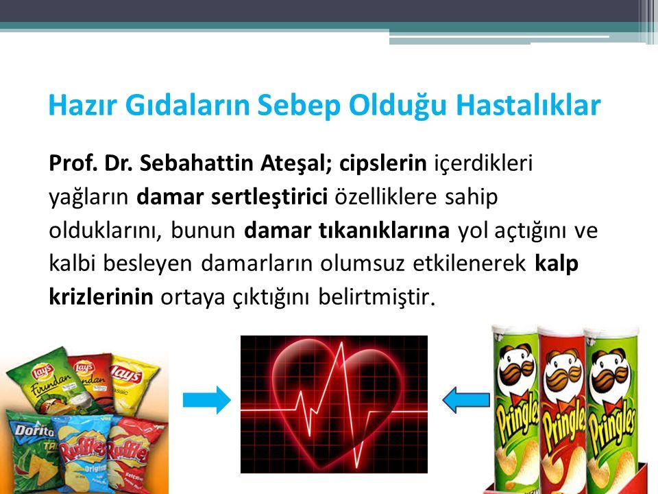 Hazır Gıdaların Sebep Olduğu Hastalıklar Prof. Dr. Sebahattin Ateşal; cipslerin içerdikleri yağların damar sertleştirici özelliklere sahip olduklarını