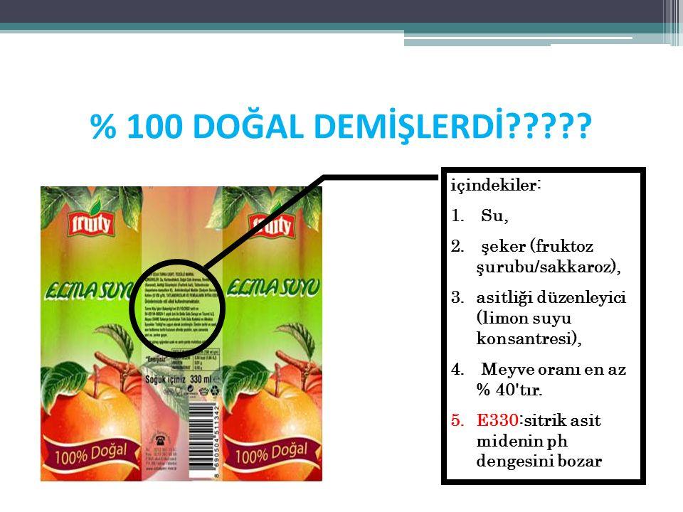 % 100 DOĞAL DEMİŞLERDİ????? içindekiler: 1. Su, 2. şeker (fruktoz şurubu/sakkaroz), 3.asitliği düzenleyici (limon suyu konsantresi), 4. Meyve oranı en