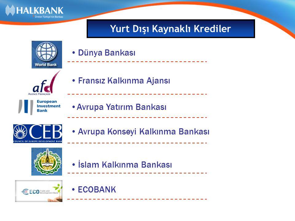 Dünya Bankası Avrupa Konseyi Kalkınma Bankası Fransız Kalkınma Ajansı Avrupa Yatırım Bankası İslam Kalkınma Bankası Yurt Dışı Kaynaklı Krediler ECOBANK