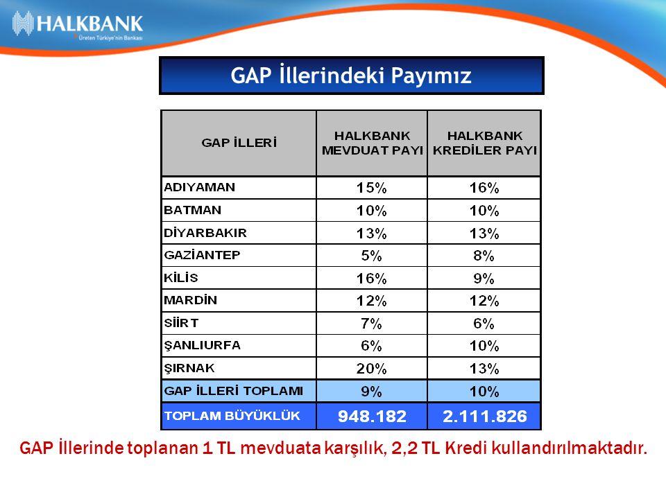 GAP İllerinde toplanan 1 TL mevduata karşılık, 2,2 TL Kredi kullandırılmaktadır.
