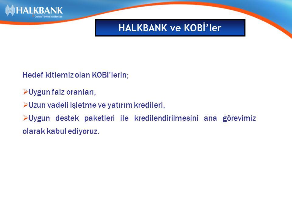 HALKBANK ve KOBİ'ler Hedef kitlemiz olan KOBİ'lerin;  Uygun faiz oranları,  Uzun vadeli işletme ve yatırım kredileri,  Uygun destek paketleri ile kredilendirilmesini ana görevimiz olarak kabul ediyoruz.