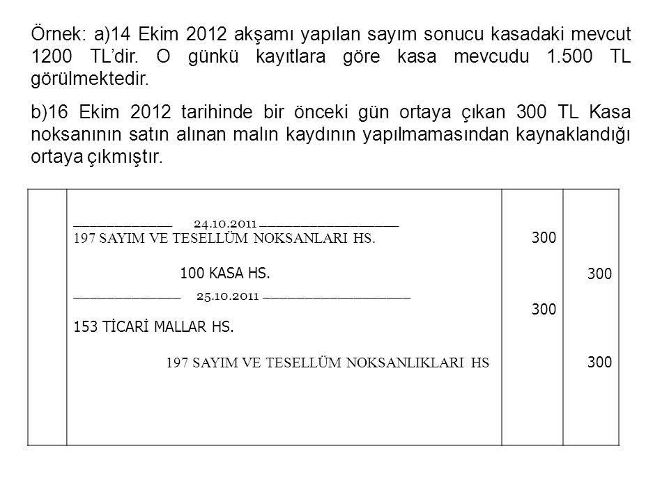 27 Örnek: a)14 Ekim 2012 akşamı yapılan sayım sonucu kasadaki mevcut 1200 TL'dir.