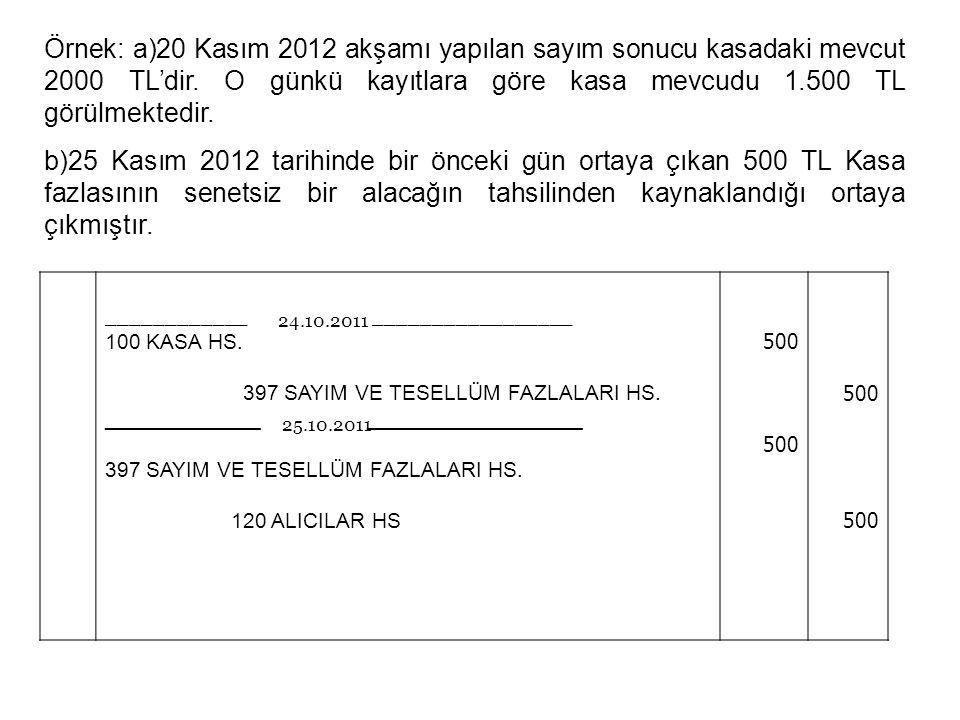 28 Örnek: a)20 Kasım 2012 akşamı yapılan sayım sonucu kasadaki mevcut 2000 TL'dir.