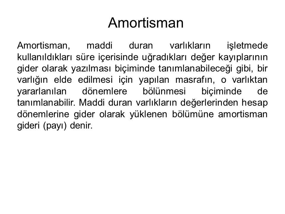 Amortisman Amortisman, maddi duran varlıkların işletmede kullanıldıkları süre içerisinde uğradıkları değer kayıplarının gider olarak yazılması biçiminde tanımlanabileceği gibi, bir varlığın elde edilmesi için yapılan masrafın, o varlıktan yararlanılan dönemlere bölünmesi biçiminde de tanımlanabilir.