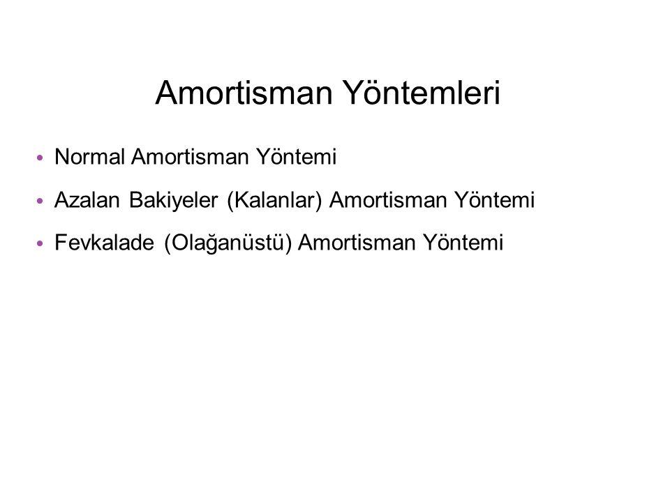 Amortisman Yöntemleri Normal Amortisman Yöntemi Azalan Bakiyeler (Kalanlar) Amortisman Yöntemi Fevkalade (Olağanüstü) Amortisman Yöntemi