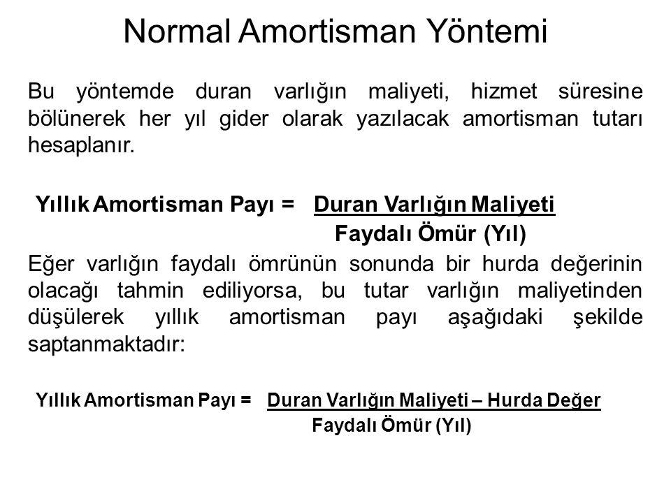 Normal Amortisman Yöntemi Bu yöntemde duran varlığın maliyeti, hizmet süresine bölünerek her yıl gider olarak yazılacak amortisman tutarı hesaplanır.