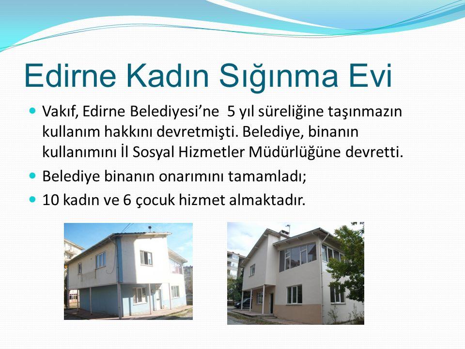 Edirne Kadın Sığınma Evi Vakıf, Edirne Belediyesi'ne 5 yıl süreliğine taşınmazın kullanım hakkını devretmişti. Belediye, binanın kullanımını İl Sosyal