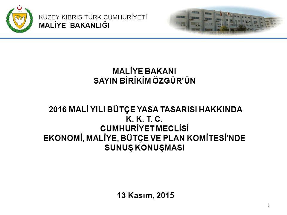 KUZEY KIBRIS TÜRK CUMHURİYETİ MALİYE BAKANLIĞI 22 Uluslararası standartlar ile Avrupa Birliği müktesebat ve uygulamalarına paralel olarak Kuzey Kıbrıs Türk Cumhuriyeti'nde kapsamlı, şeffaf ve verimli bir kamu iç mali denetimin oluşturulmasını ve geliştirilmesini sağlamayı amaçlayan, Kamu İç Mali Kontrol Yasa Tasarısı Bakanlar Kurulunca onaylanmış ve KKTC Meclisine sevk edilmiştir.